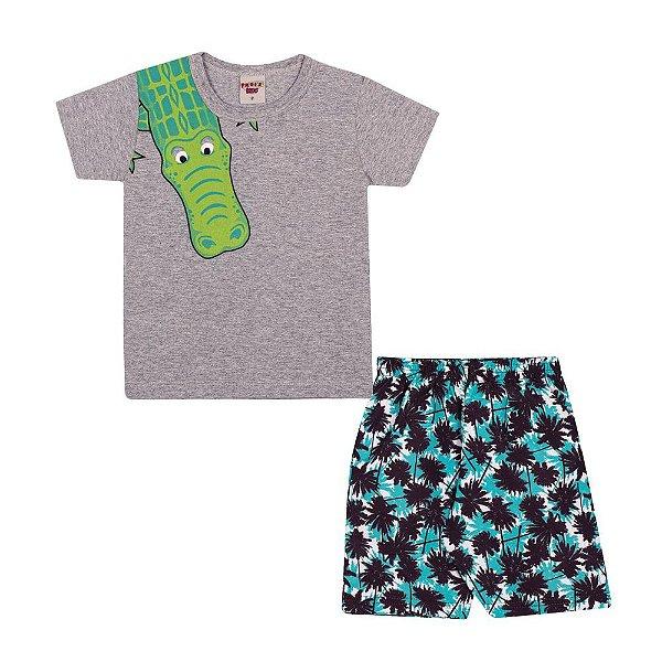 Conjunto camiseta Jacaré e Bermuda Infantil Menino Mescla