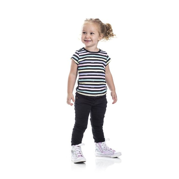 Blusa Listras Infantil Menina Preta