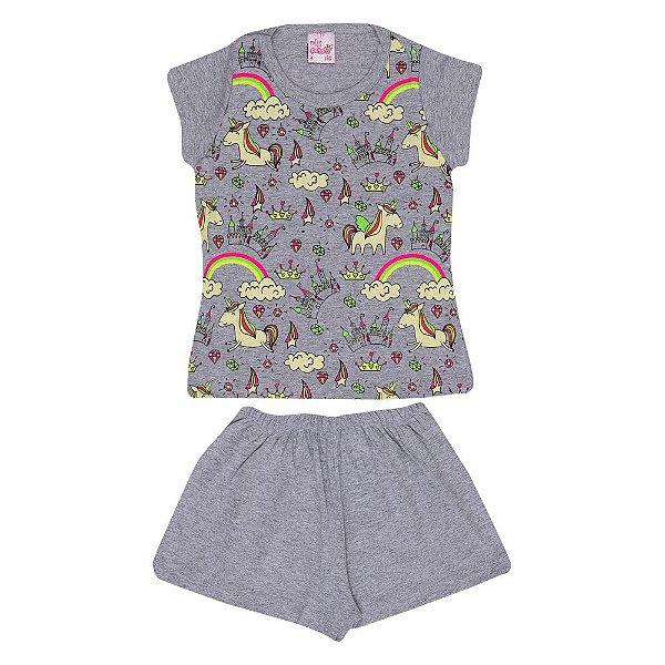 Pijama Unicórnio Brilha no Escuro Infantil Menina Mescla Escuro