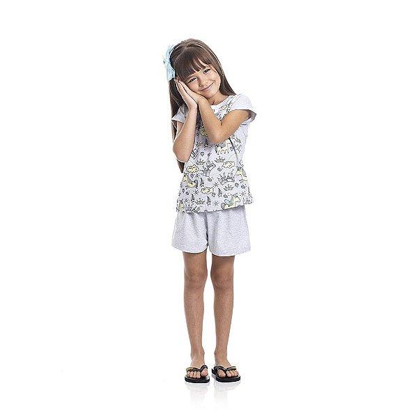 Pijama Unicórnio Brilha no Escuro Infantil Menina Mescla