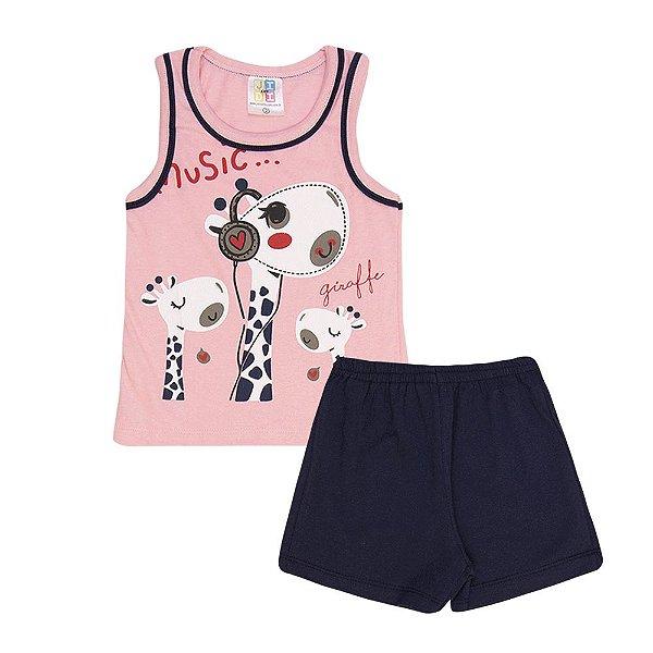 Conjunto Regata Girafinha e Short Infantil Menina