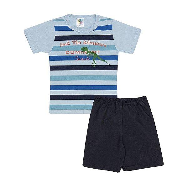 Conjunto Camiseta Listrada  e Short Infantil Menino