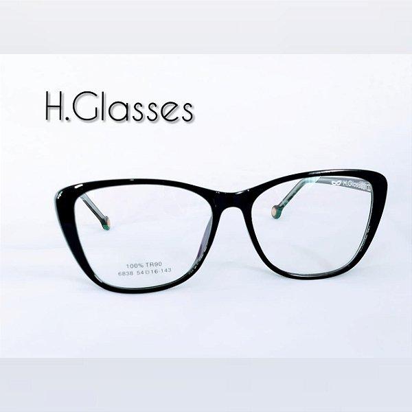 3cb468a9e Armação de Grau Feminina Preta Gatinho Acetato - H.Glasses