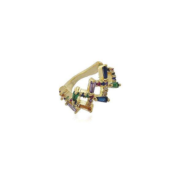 Brinco piercing fake pedras coloridas banhado a ouro 18k