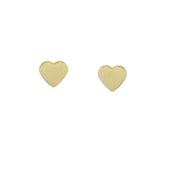 Brinco coração pequeno folheado a ouro 18k