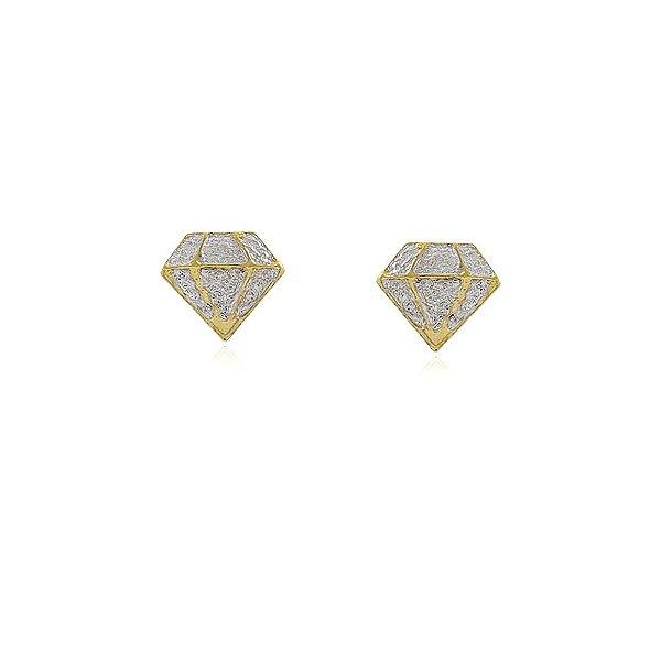 Brinco diamante com aplicação de Ródio banhado  no Ouro 18k