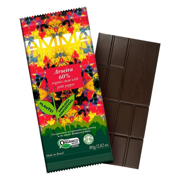 Chocolate Orgânico AMMA 60% Aroeira com Pimenta Rosa – 80grs.