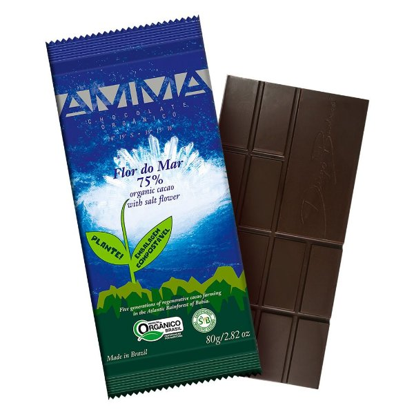 Chocolate Orgânico AMMA 75% Flor do Mar – 80grs.
