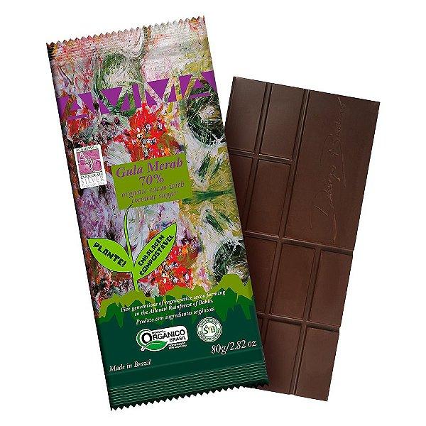 Chocolate Orgânico AMMA 70% Gula Merah com Açúcar de Coco – 80grs.