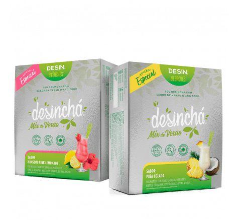 Combo Desinchá Mix de Verão - Sabor  Pina Colada e Hibiscus Pink Lemonade - 60 sachês - Edição Limitada