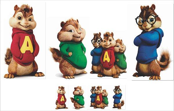 kit display cenário de chão Alvin e os esquilos 8 peças