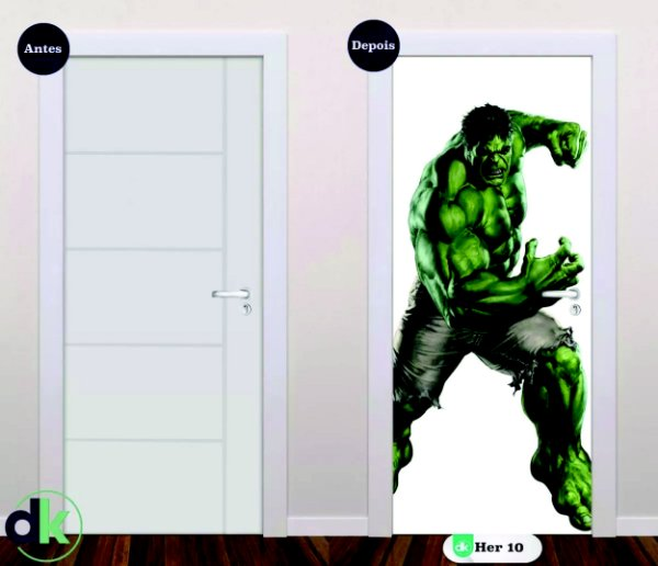 Adesivo decorativo de Porta Incrível Hulk