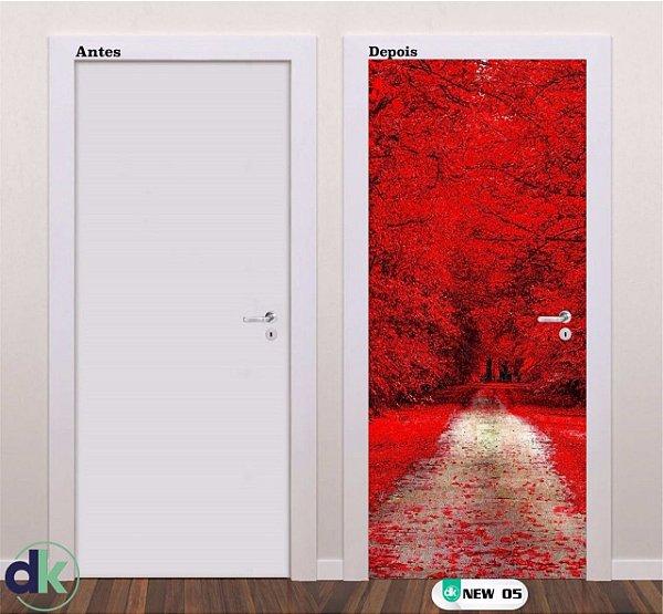 Adesivo decorativo de Porta Floresta Vermelha New 05