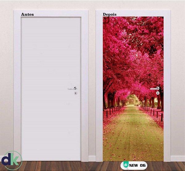 Adesivo decorativo de Porta Floresta Vermelha/Rosa New 06