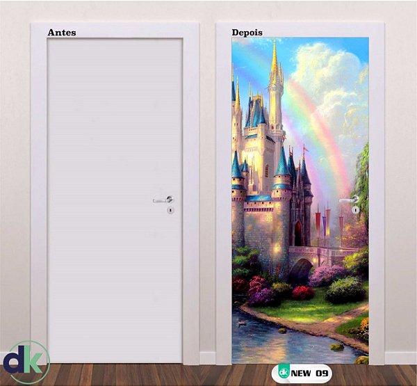 Adesivo decorativo de Porta Castelo Arco-Iris New 09