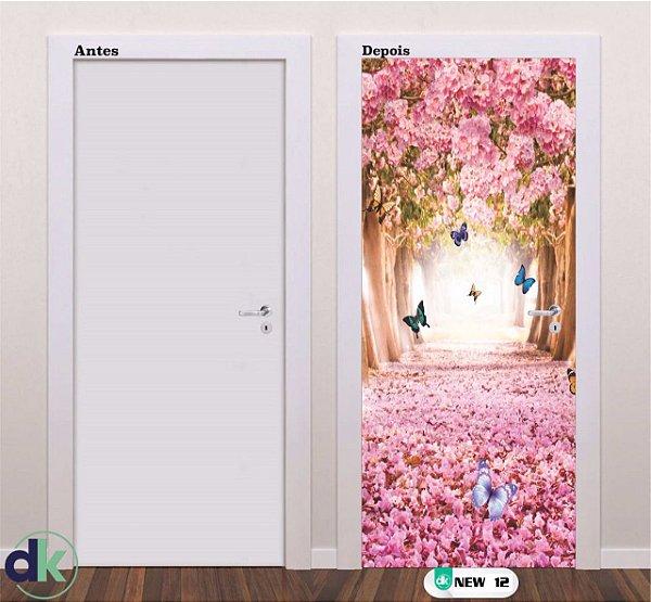Adesivo decorativo de Porta Floresta Rosa New 12