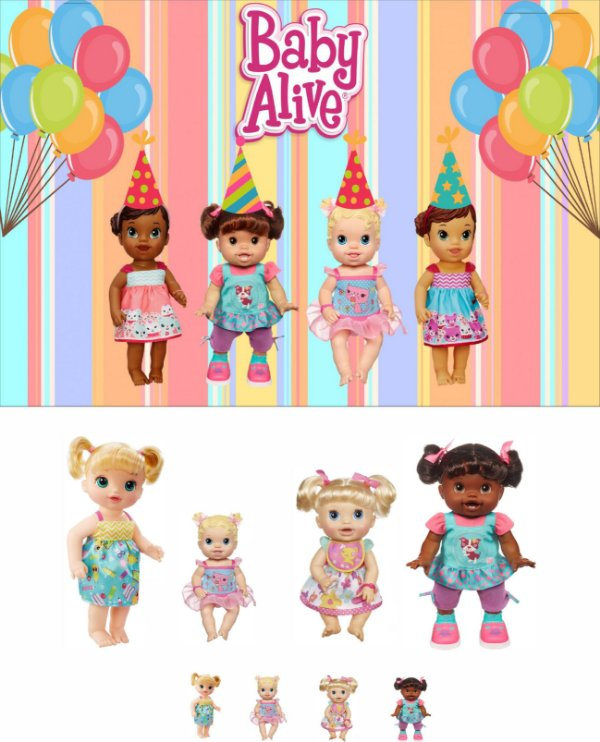 Kit Display BABY ALIVE 8 Pçs + Painel BABY ALIVE 01