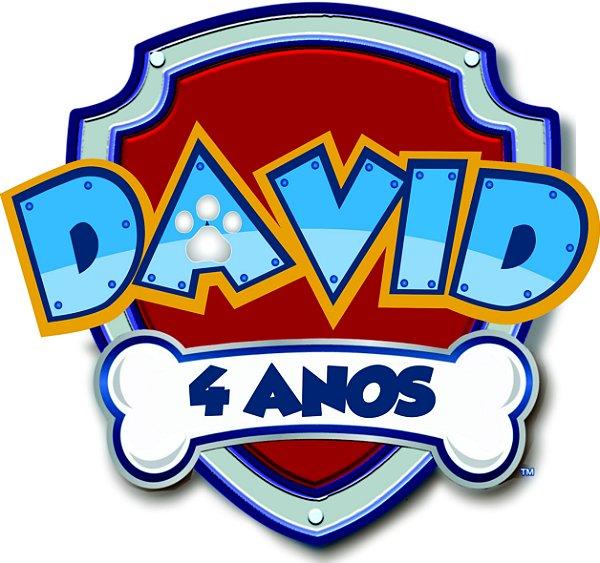 ELIPSE ESCUDO PATRULHA CANINA COM NOME DAVID 4 ANOS