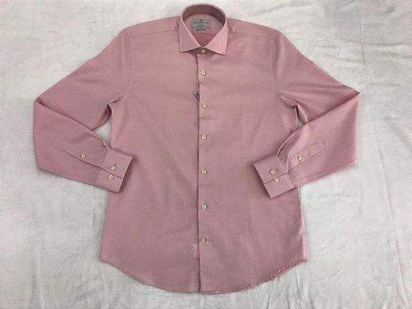 Camisa Manga Longa Highstil Tailored Fit Algodão Egípcio Rosa