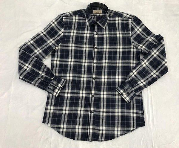 Camisa Manga Longa Highstil Sport Slim Xadrez Azul/Branco