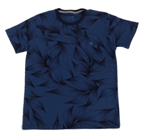 Camiseta Manga Curta Ogochi Concept Azul Estampada