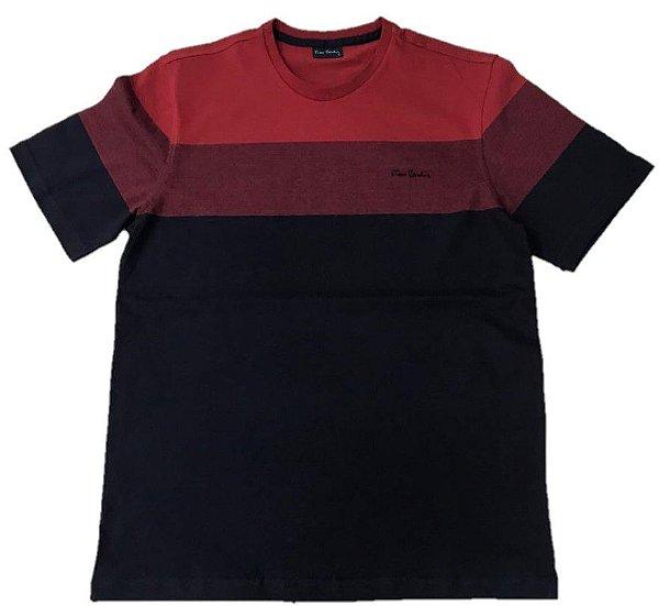 Camiseta Gola Redonda Pierre Cardin Barrado Vermelho