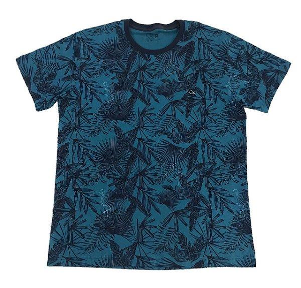 Camiseta Manga Curta Ogochi Palmeira Azul Petróleo