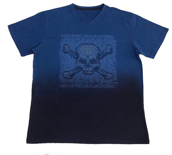 Camiseta Manga Curta Ogochi Slim Caveira Azul