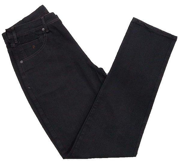 Calça Jeans Pierre Cardin Cintura Média Escura Detalhes Marrom