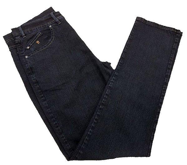 Calça Jeans Pierre Cardin Tradicional Escura com Detalhes