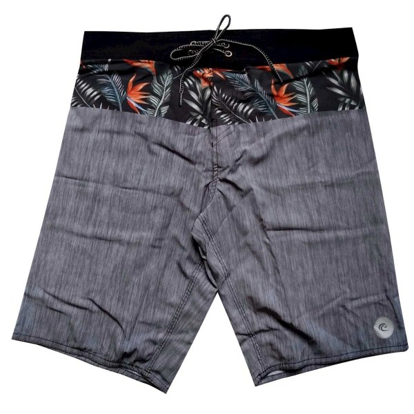 Bermuda Boardshort Stretch WSS Band Flowers Grey