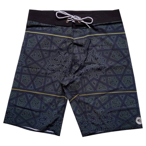 Bermuda Boardshort Stretch WSS Geometric Black