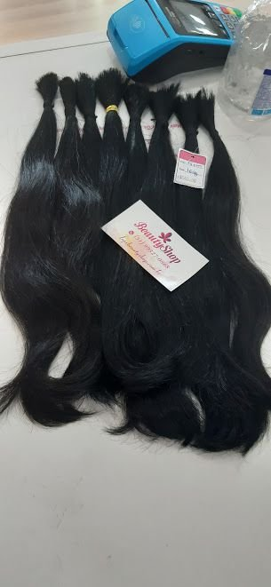 Mega Hair Cabelo Humano Preto Levemente Ondulado 35 cm 160g Pontas Cheias