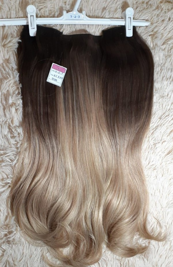 Aplique Tic-Tac + Flip Ombre Hair Seda Melhor que Orgânico 3 peças 55 cm 190g Cor 7-2-3