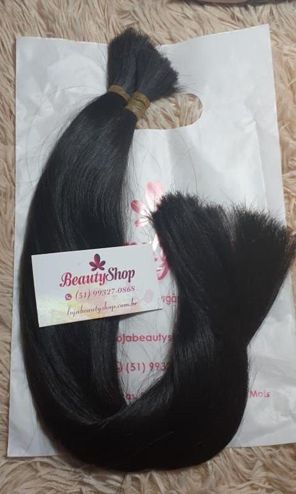 Mega Hair Cabelo Humano Castanho Liso Levemente Ondulado 60 cm 150g Pontas Cheias