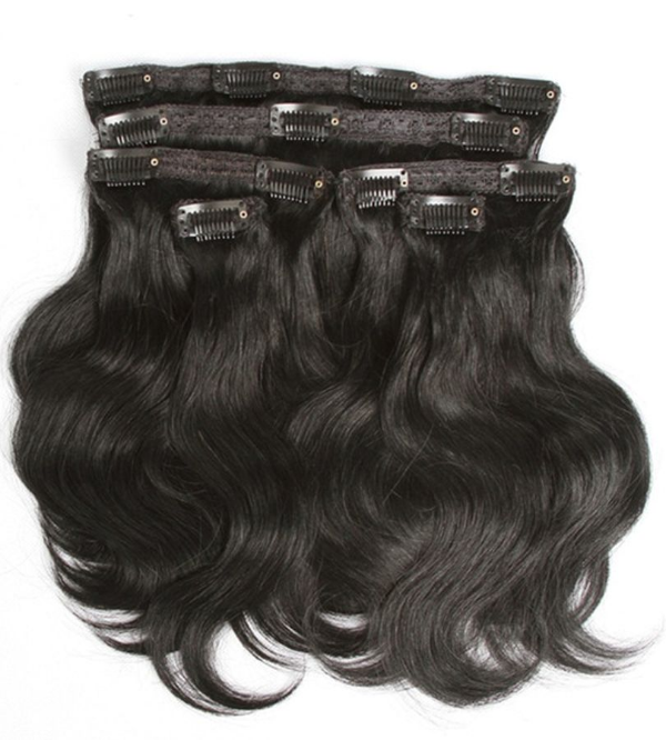 Mega Hair Tic Tac Cabelo Humano Preto ondulado Kit 6 peças 30 cm 120g