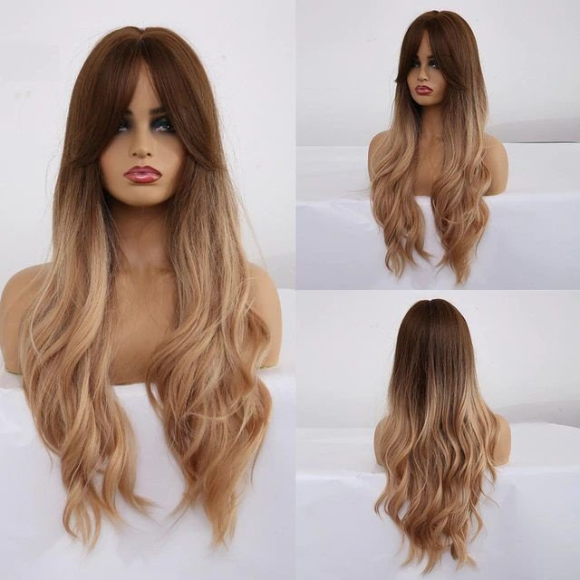 Peruca Longa Fibra Orgânica Ombre Hair Ondulado com Franja
