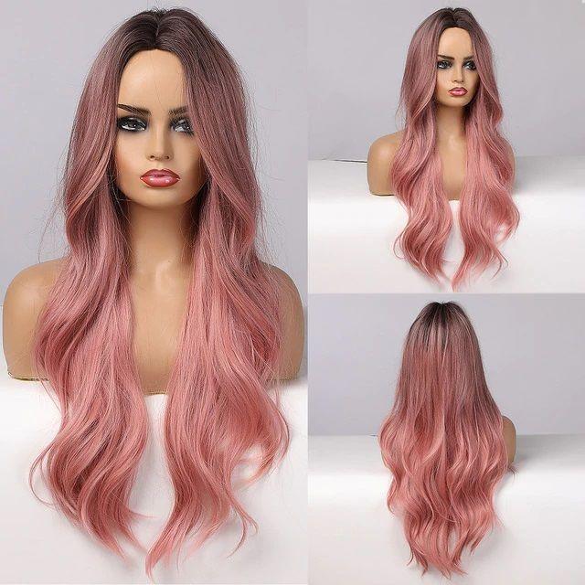 Peruca Longa Fibra Orgânica Ombre Hair Rosa Ondulado sem Franja