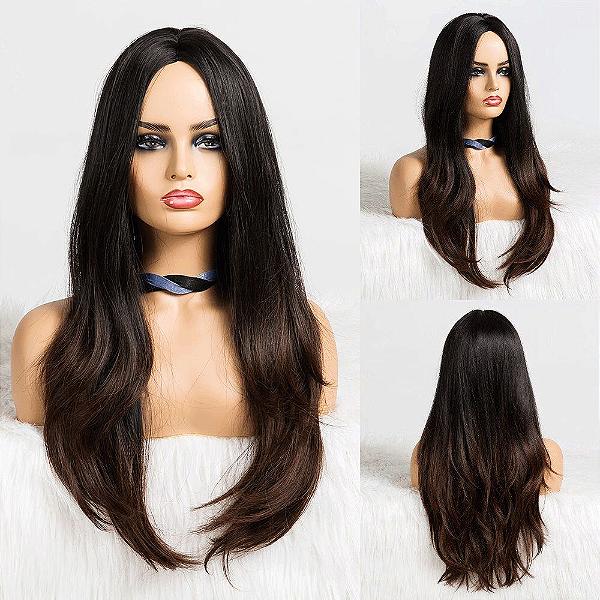 Peruca Longa Fibra Orgânica Ombre Hair Sem Franja