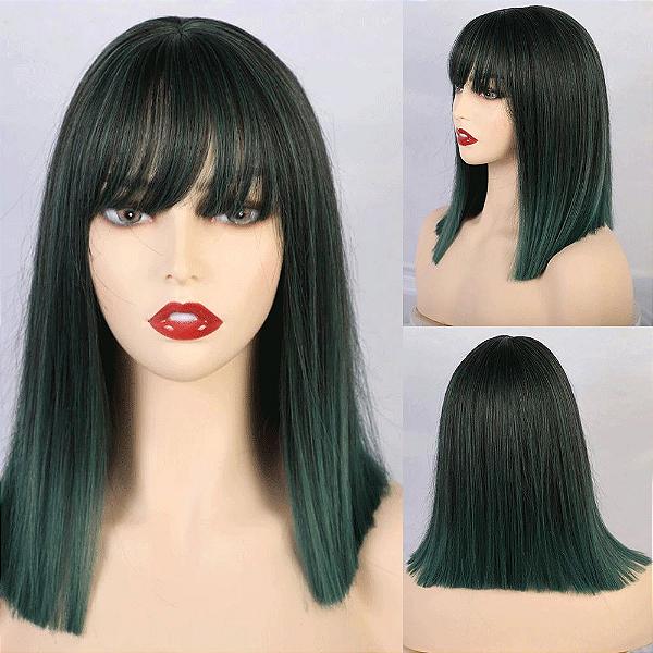 Peruca Média Fibra Orgânica Ombre Hair Verde com Franja