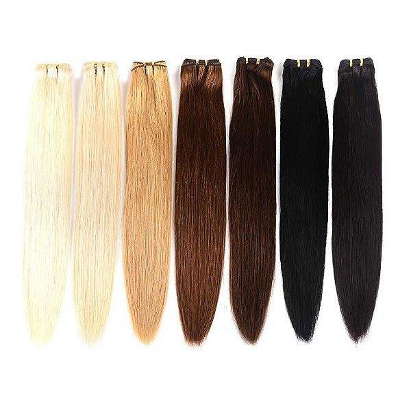 Mega Hair Cabelo Humano Tecido Várias Cores Liso 60 cm 100g