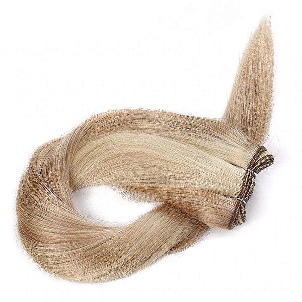 Mega Hair Cabelo Humano Tic-Tac Mechado Loiro Liso 60cm 120g Kit 7 peças