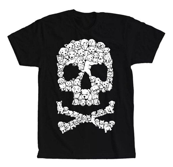Camiseta Caveira de Cachorrinhos