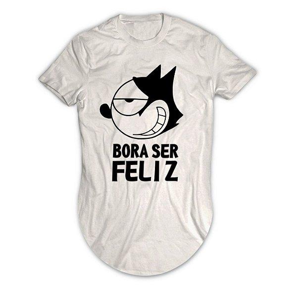 Camiseta Longline Gato Felix Bora Ser Feliz