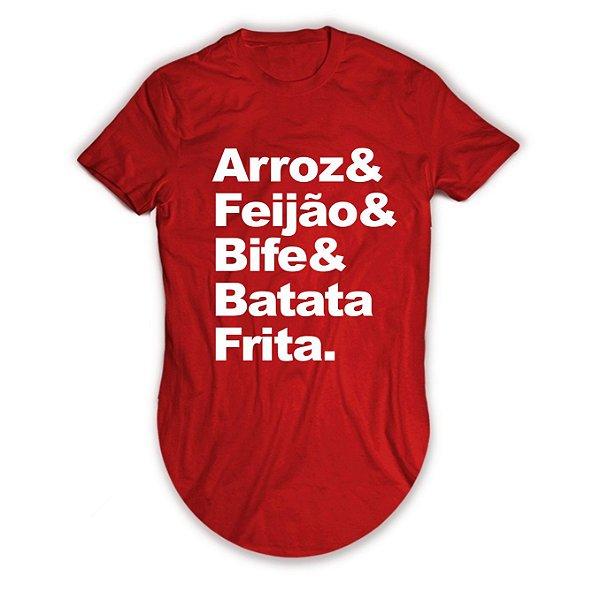 Camiseta Longline Arroz, Feijão, Bife e Batata Frita