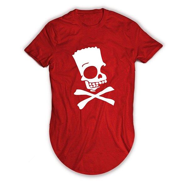 Camiseta Longline Bart Simpsons Caveira Perigo