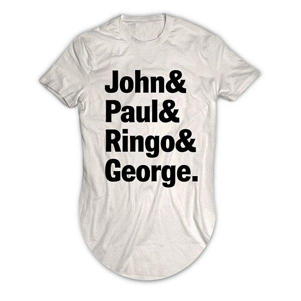 Camiseta Longline The Beatles John, Paul, Ringo e George