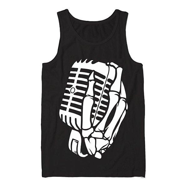 Regata Masculina The Music Skull, Caveira com a Mão no Microfone