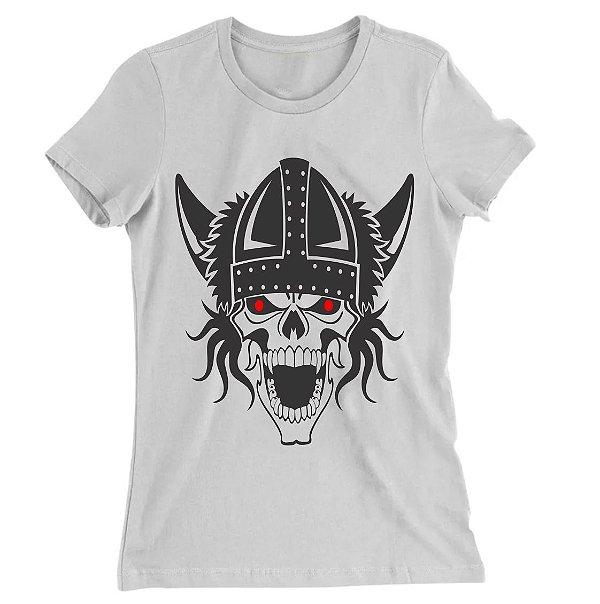 Camiseta Baby Look Caveira Viking