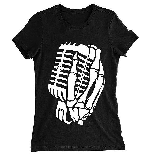 Camiseta Baby Look The Music Skull, Caveira com a Mão no Microfone